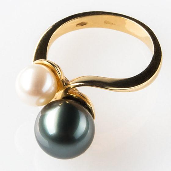 anello perla nera tahiti perla bianca