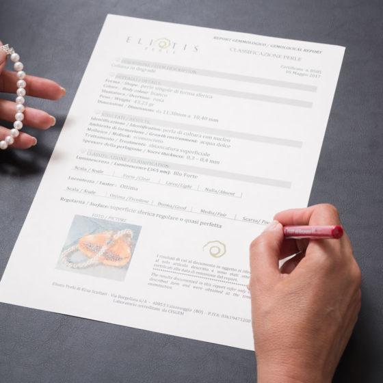 certificato gemmologico gioiello perle