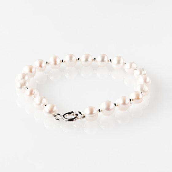 Bracciale d'argento e perle coltivate
