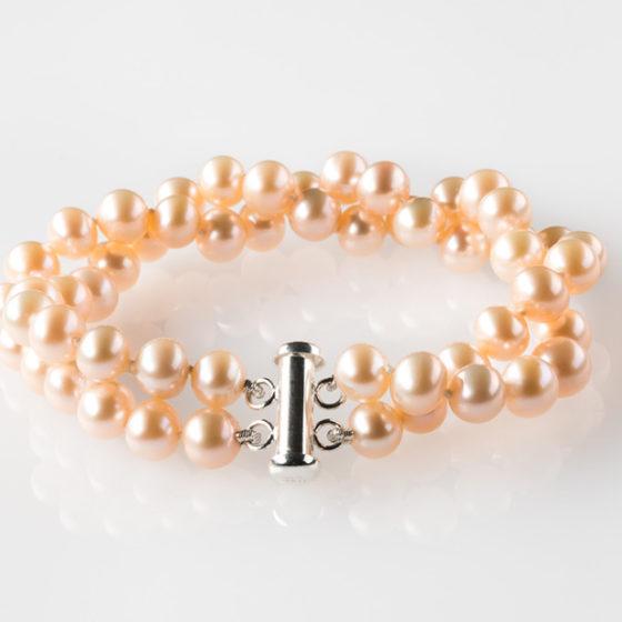 Bracciale torchon perle rosa d'acqua dolce