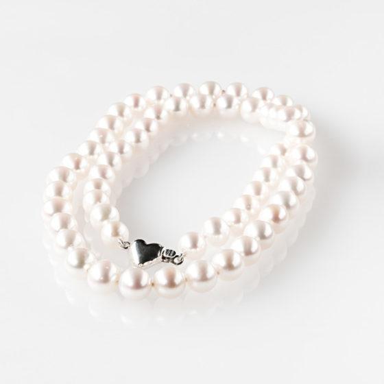 Collana perle Akoya e cuore argento