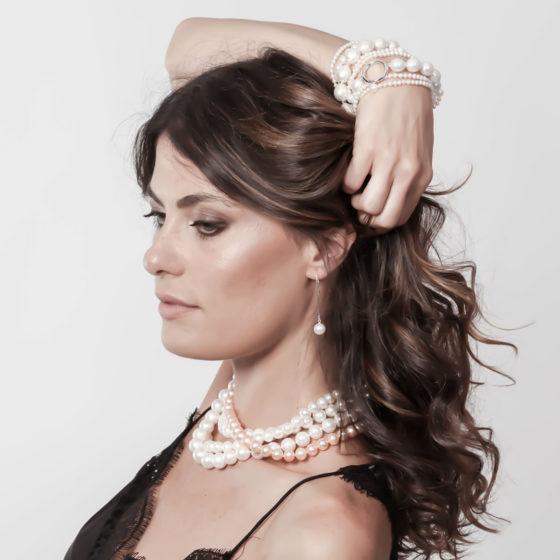Collana perle Akoya e cuore argento: Eclipse