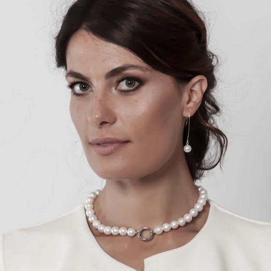 Orecchini d'argento con perle bianche: Snow ballet