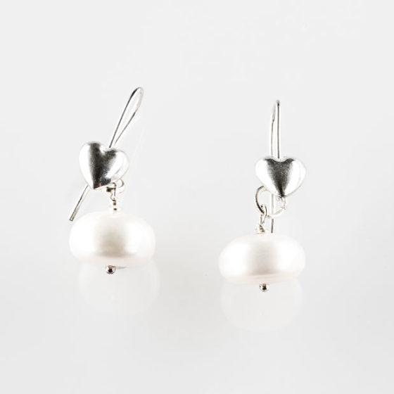 Orecchini perle a bottone e cuore